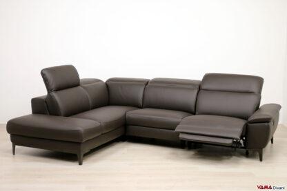 divano angolare relax elettrico pelle marrone
