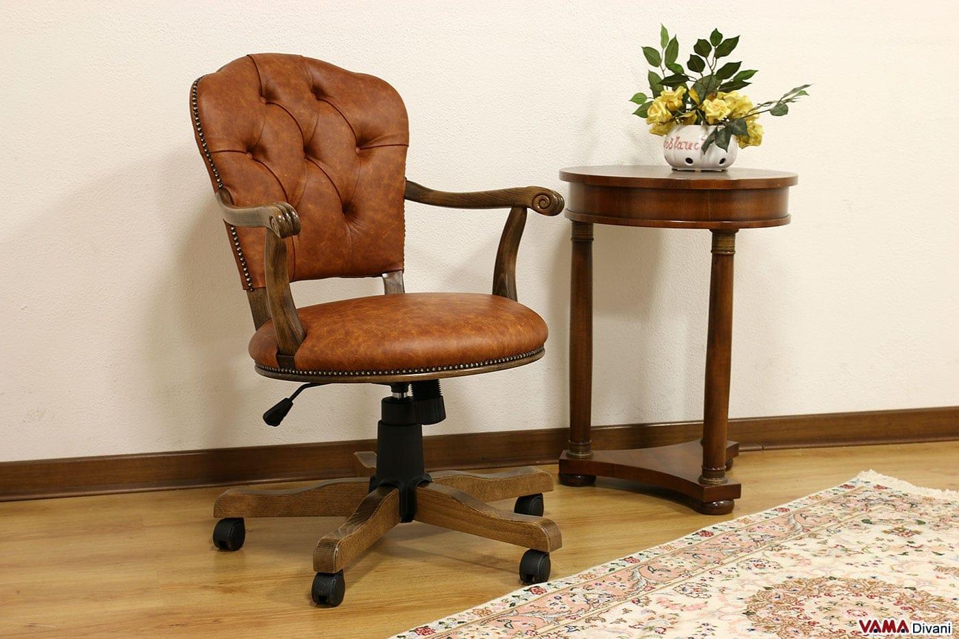 Sedia da scrivania per ufficio rachele vama divani for Sedia girevole