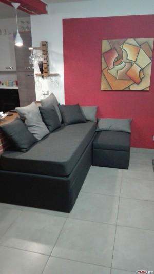 Doppio letto singolo estraibile in tessuto grigio nero