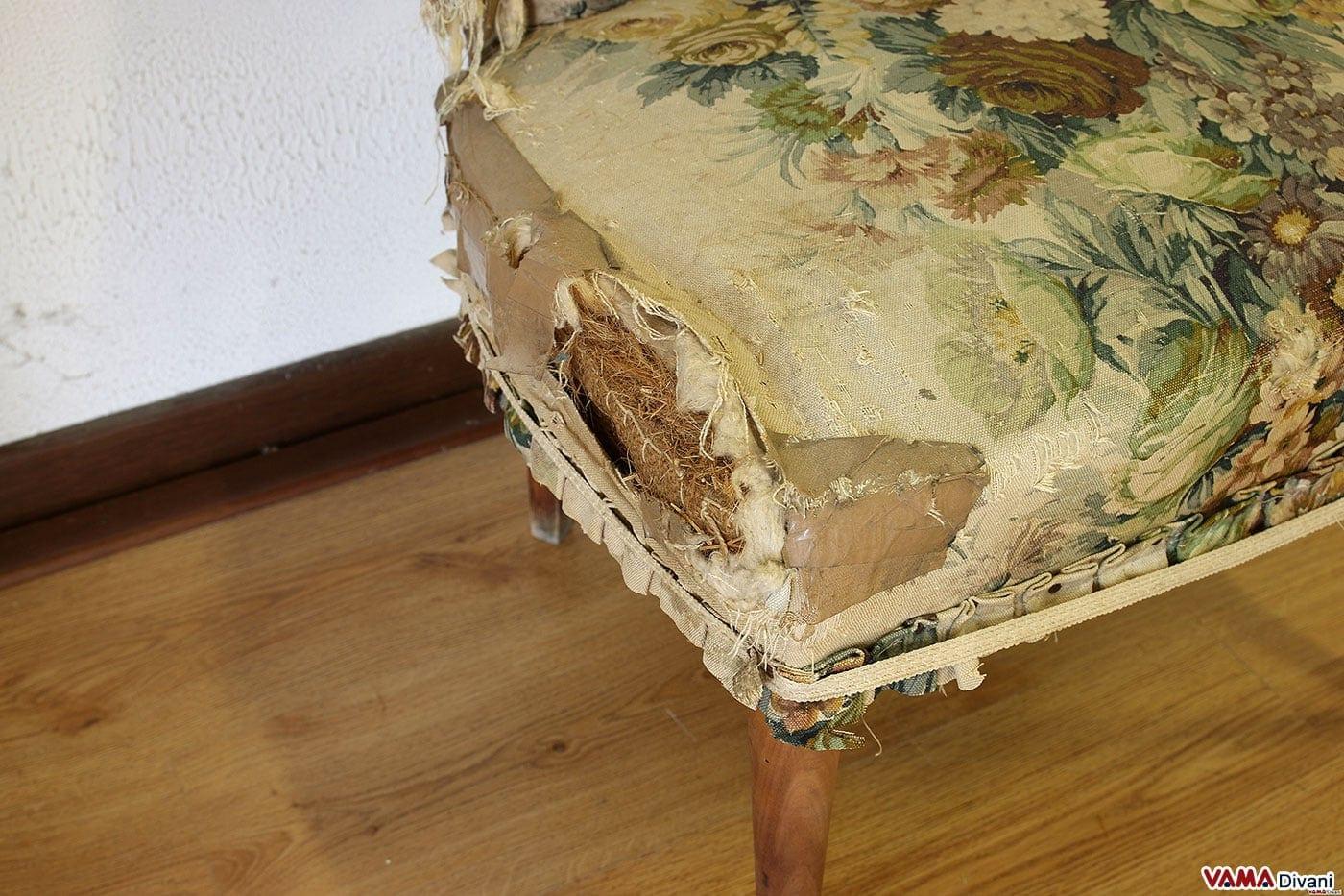 Poltrona antica da restaurare la tappezzeria