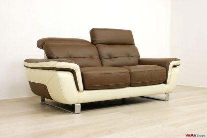 Divano 2 posti moderno in pelle bicolore con poggiatesta relax