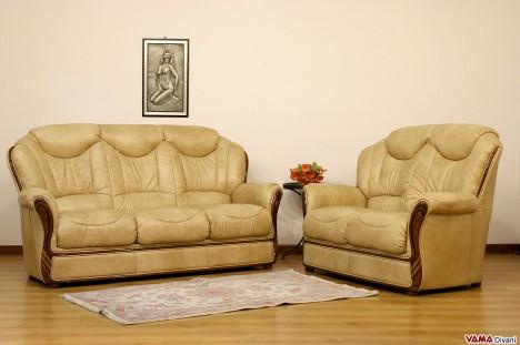 Divano 3 e 2 posti con schienale alto legno e pelle