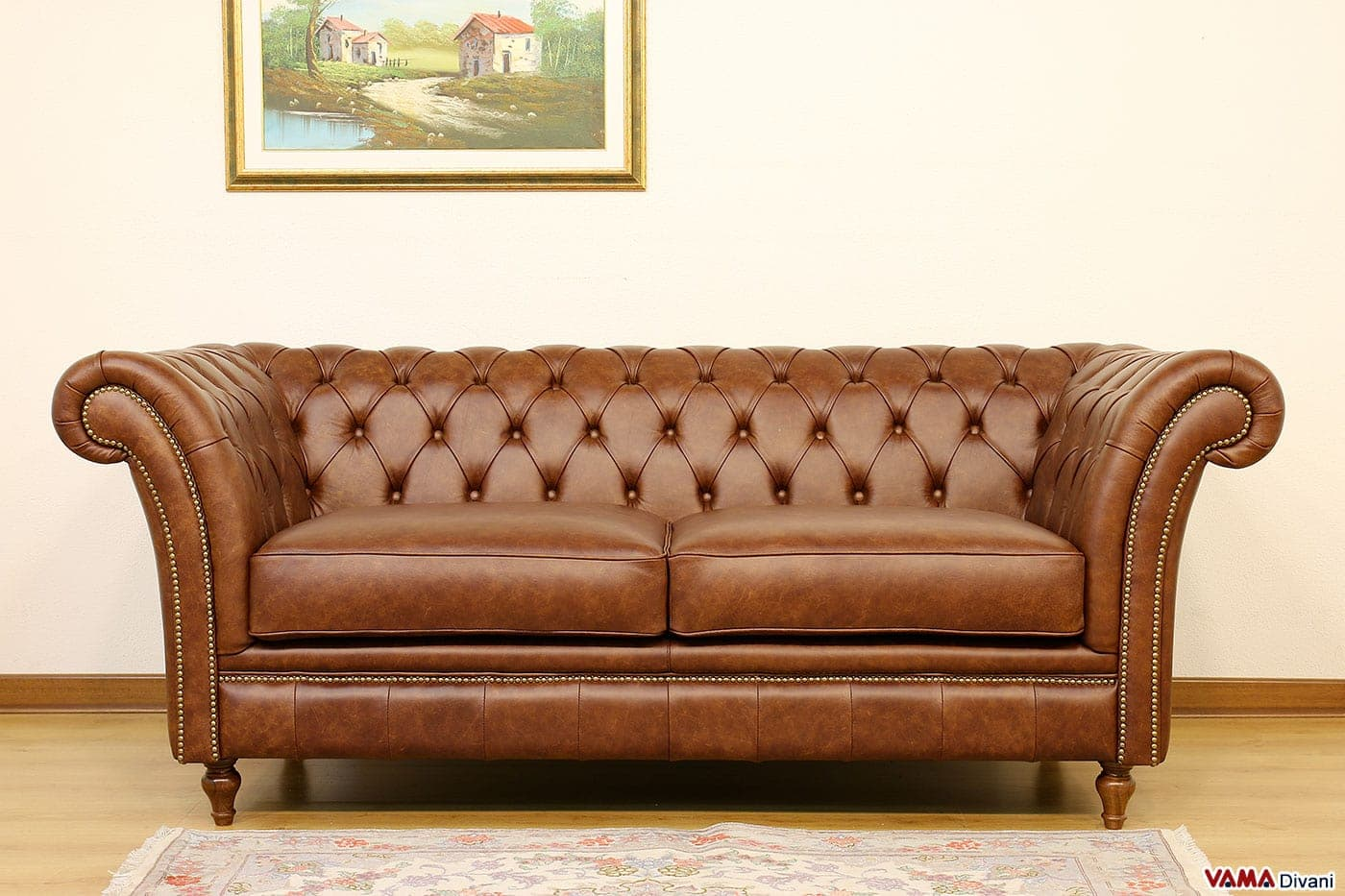 Divano Chesterfield Vintage Originale In Vera Pelle