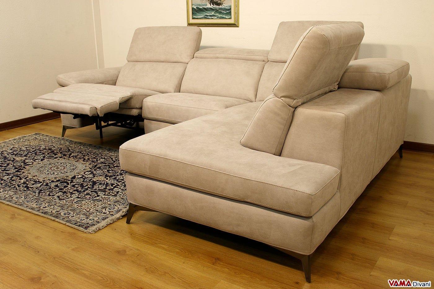 divano 3 posti con chaise longue e relax elettrico - Reclinabile Divano Ad Angolo Chaise