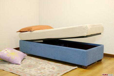 letto con contenitore singolo senza testata
