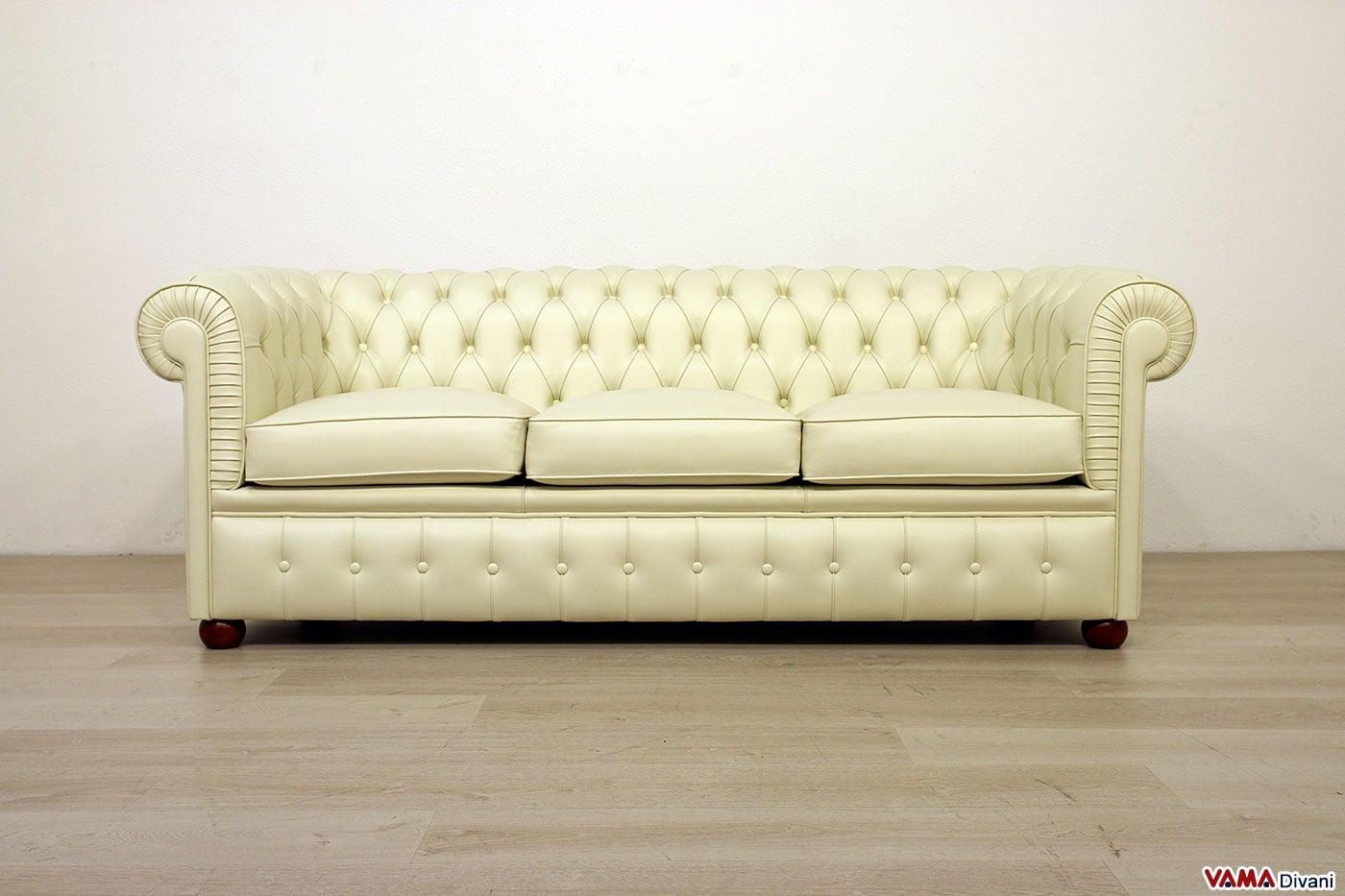 Divano chesterfield con profondit ridotta 3 posti in pelle - Piccolo divano 2 posti ...