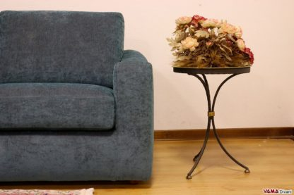 Bracciolo divano in tessuto color petrolio