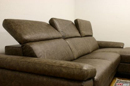divano moderno con relax in pelle vintage marrone