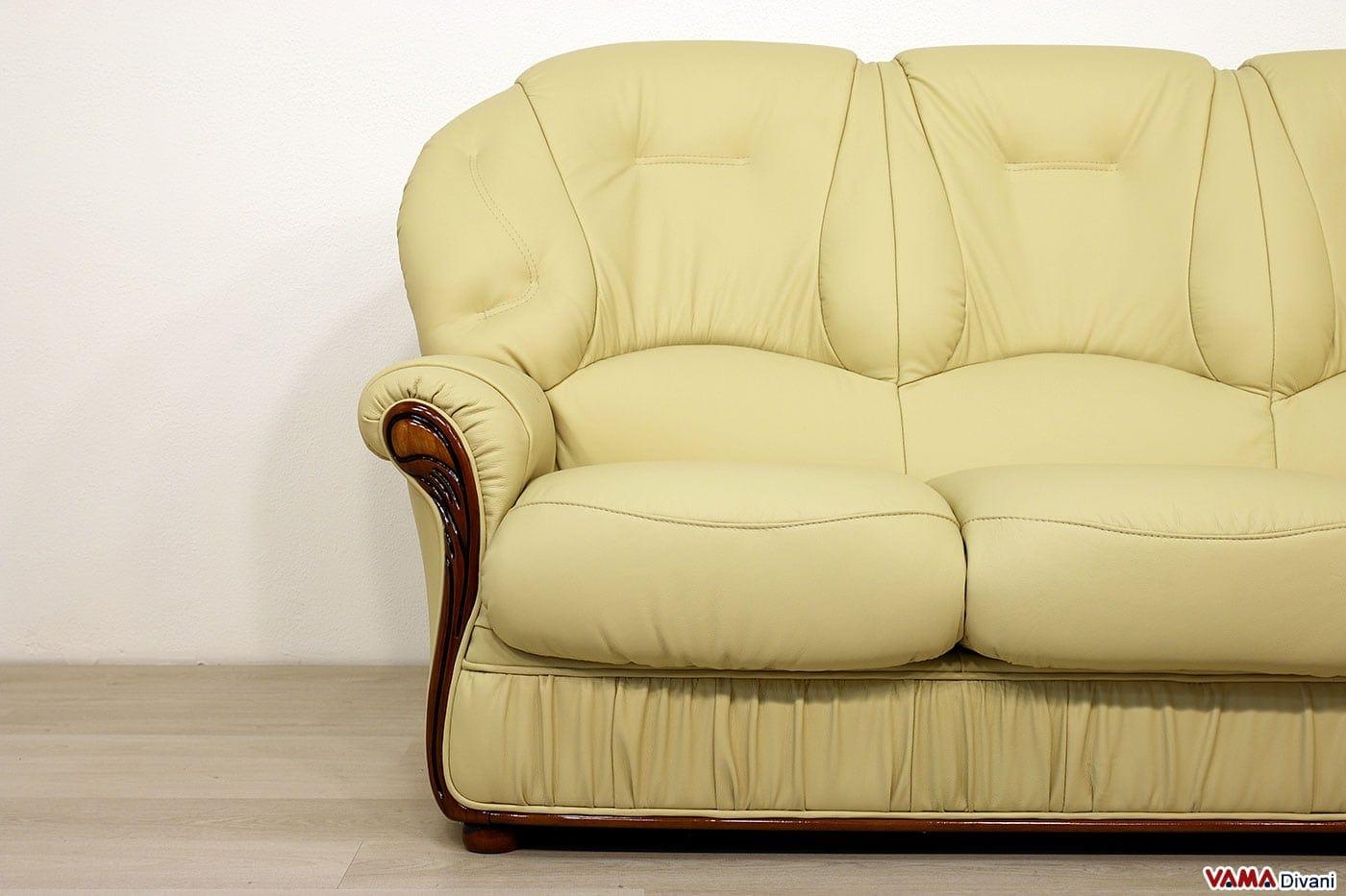 Divano con schienale alto in stile classico in pelle e legno - Divano in pelle classico ...