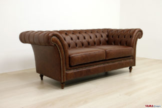 Divano stile Chesterfield in pelle marrone scuro vintage