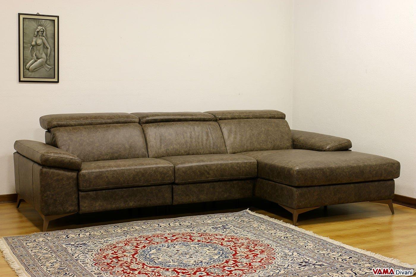 Divano 3 posti con chaise longue e relax elettrico for Chaise longue divano