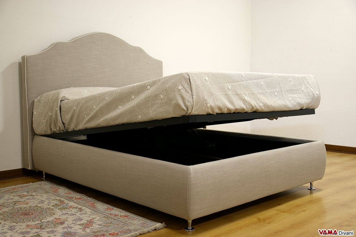 letto con contenitore classico in tessuto grigio sfoderabile