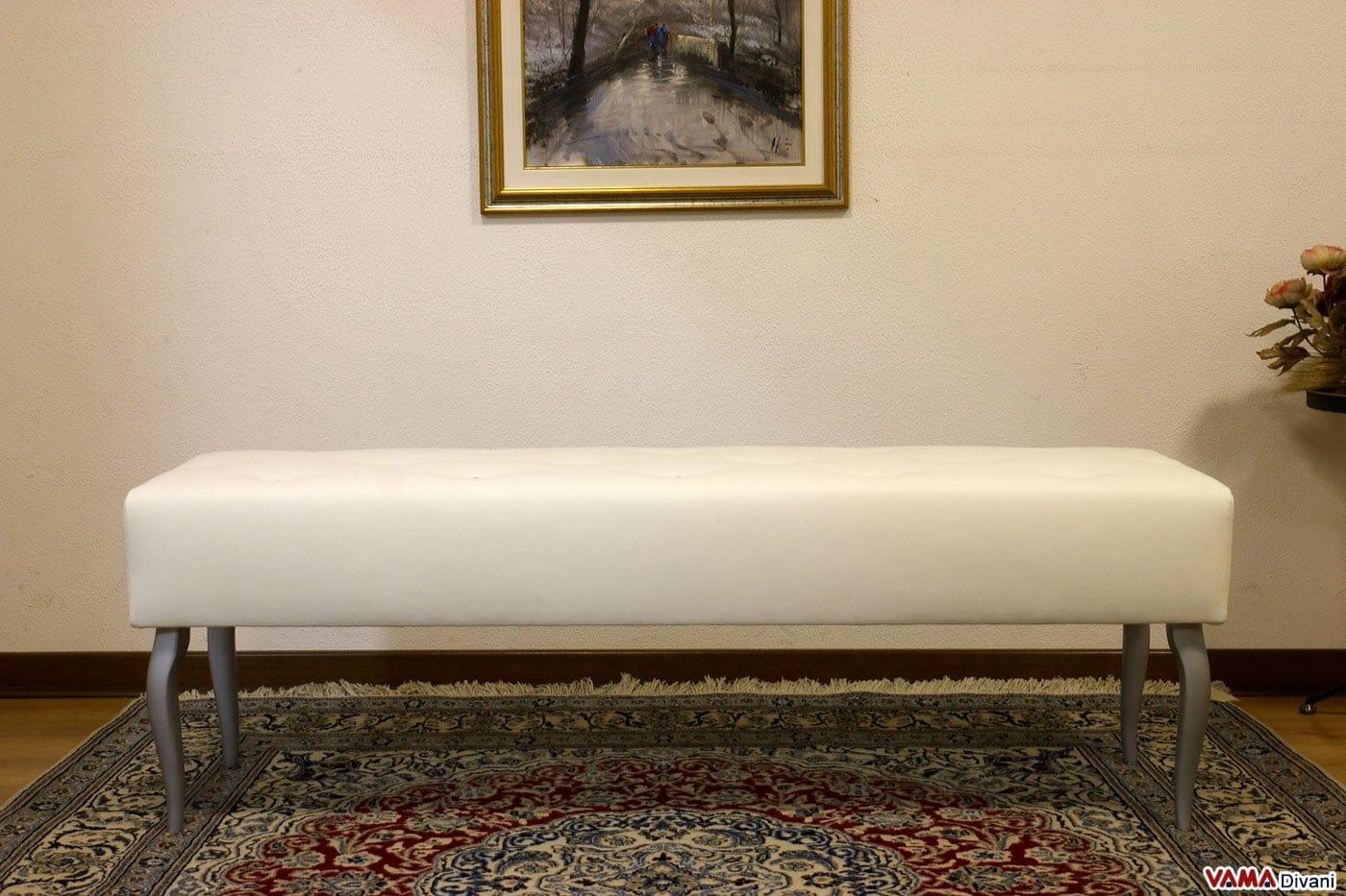 Pouf panchetta fondo letto shabby chic bianca con bottoni - Divano letto shabby chic ...