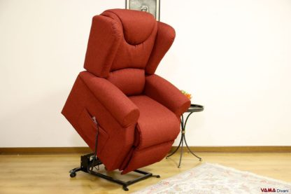 poltrona reclinabile relax elettrica in tessuto rosso