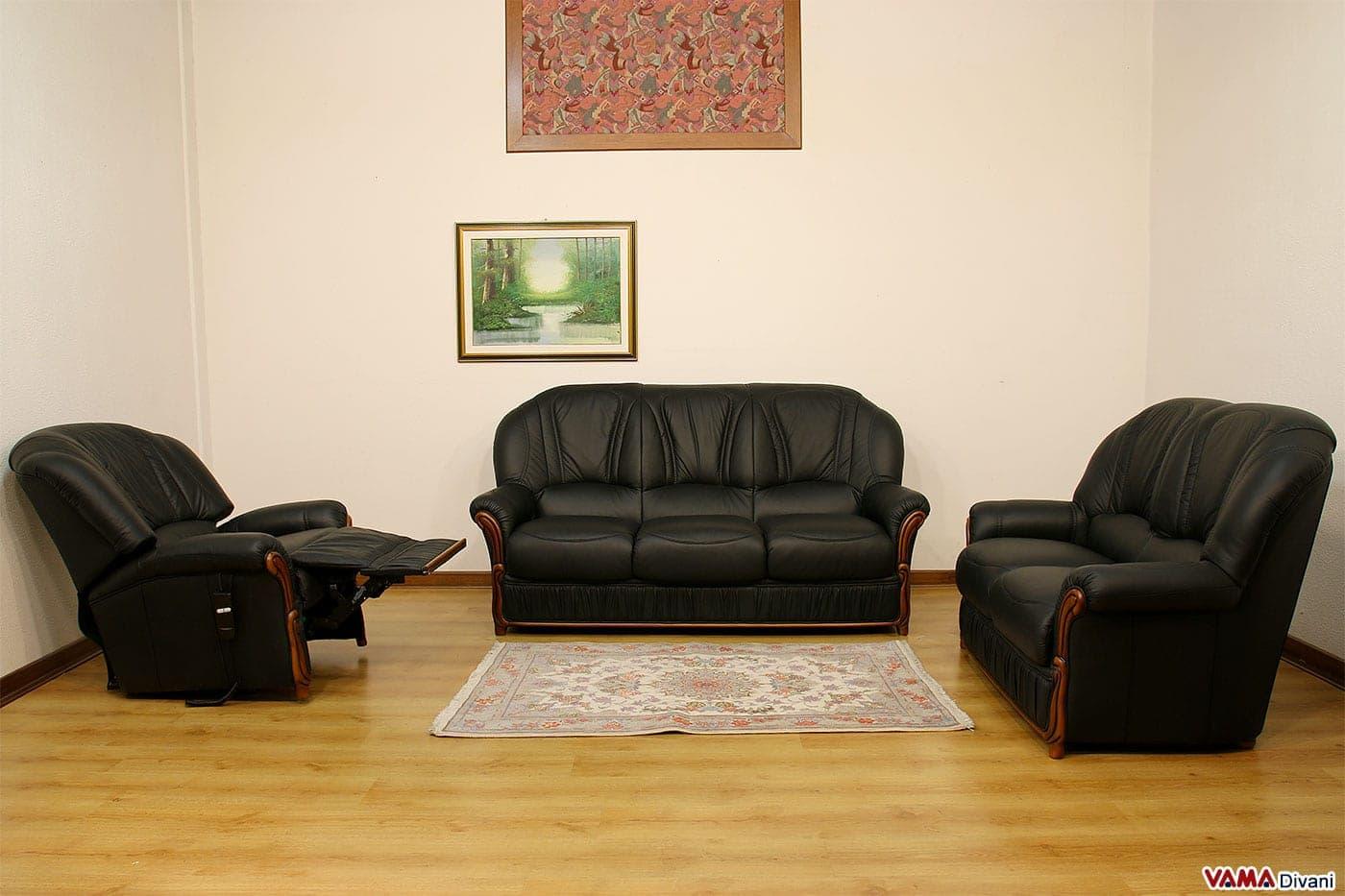 Divani 3 e 2 posti con poltrona relax elettrica in pelle for Smart relax divano letto prezzo