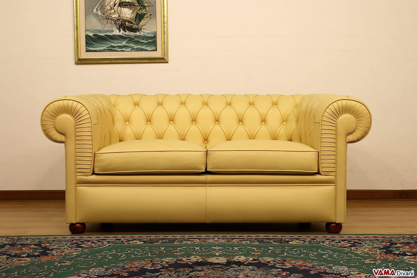 Divani in pelle gialli idee per il design della casa for Divano letto pelle 2 posti