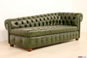 Divano Chesterfield Dormeuse seduta capitonnè verde in pelle as