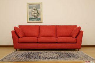 Divano moderno in tessuto sfoderabile rosso 3 posti