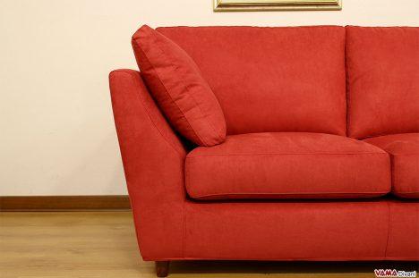 Divano rosso moderno in tessuto sfoderabile microfibra