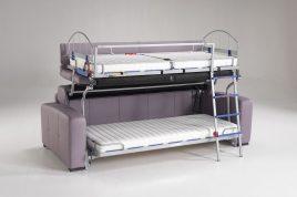 Divano trasformabile in letto a castello con meccanismo di alta
