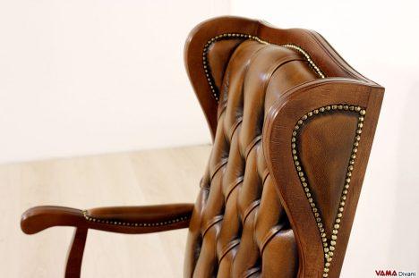 Poltrona ufficio vintage in legno e pelle