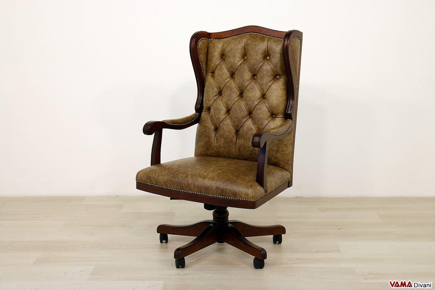 Poltrona Ufficio Elegante : Poltrona da ufficio classica in vera pelle di design vintage
