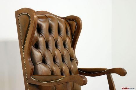 Poltrona ufficio classica vintage in pelle marrone