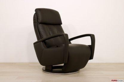 Poltrona moderna reclinabile in pelle marrone di design
