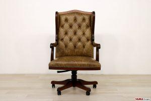 Poltrona ufficio classica in pelle di design vintage