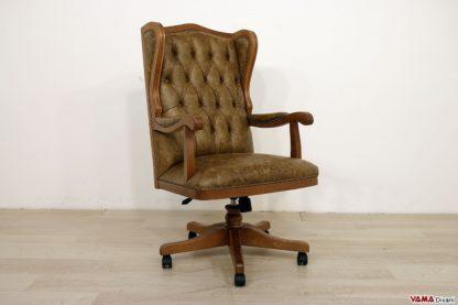 Poltrona ufficio classica legno e pelle marrone