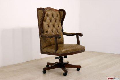 Poltrona da ufficio vintage in pelle e legno