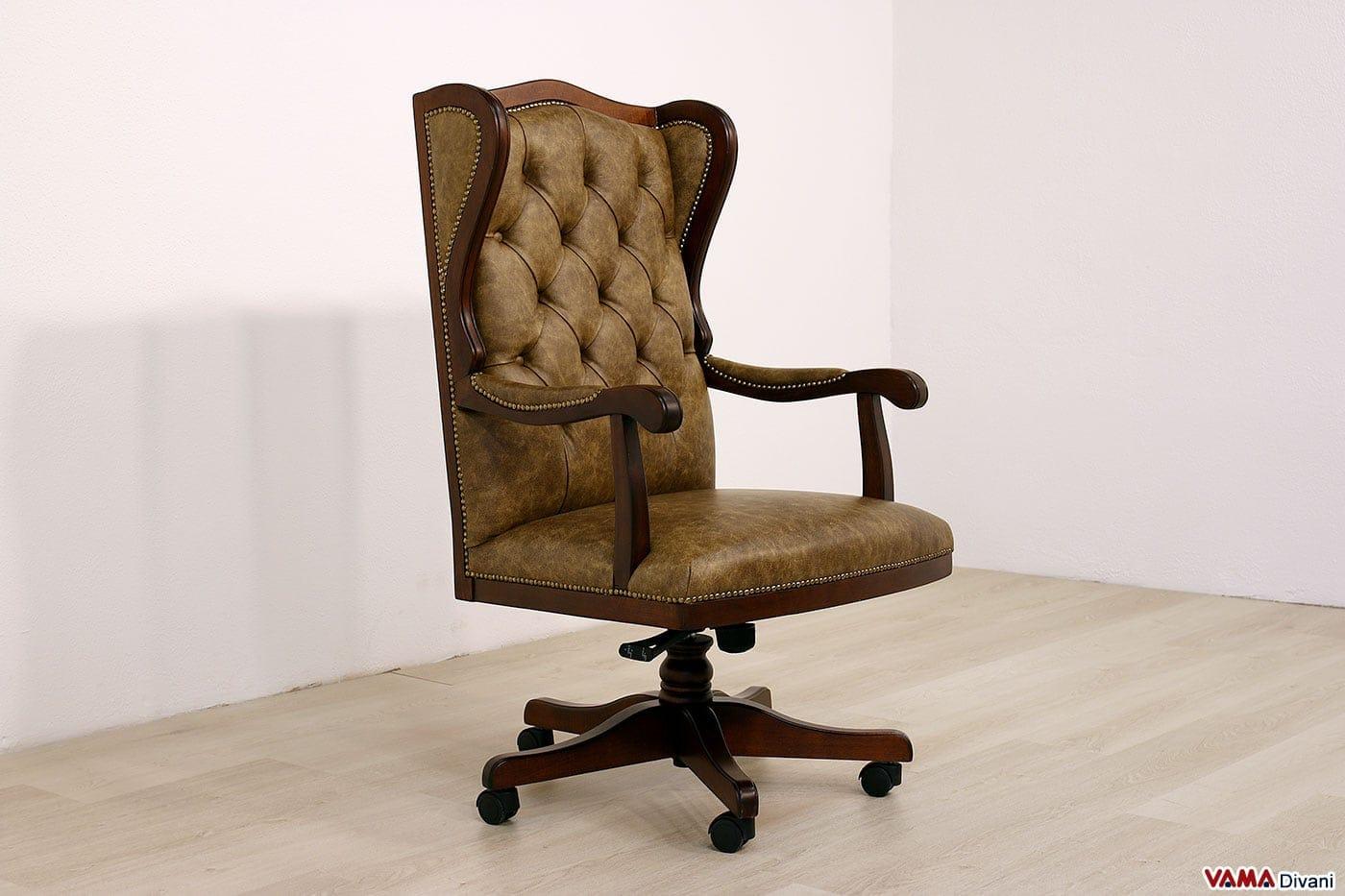 Poltrona da ufficio classica in vera pelle di design vintage for Design legno ufficio