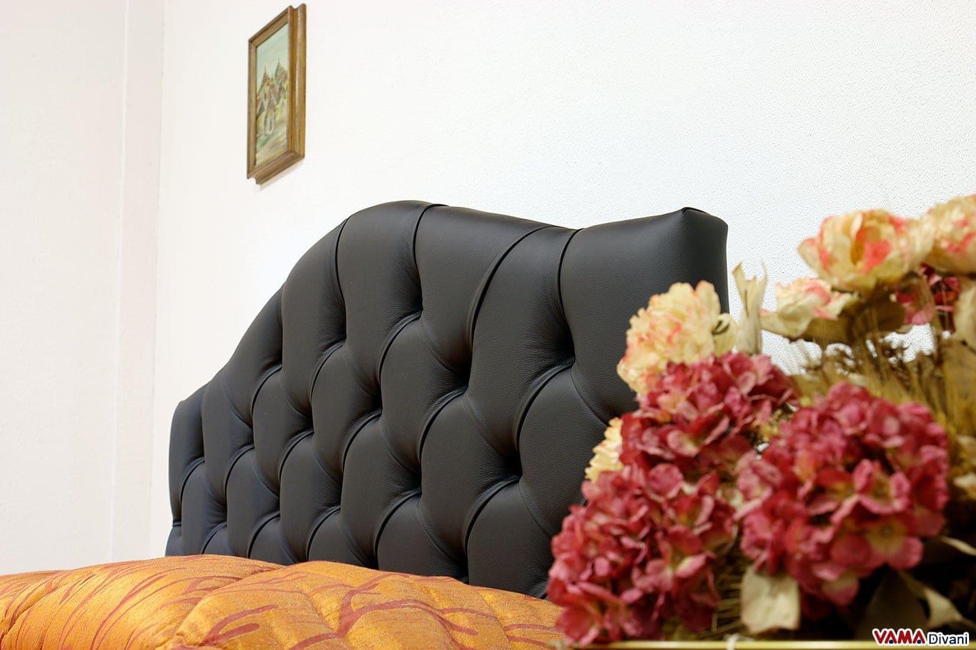 Testiera letto capitonnè in pelle nera in stile classico