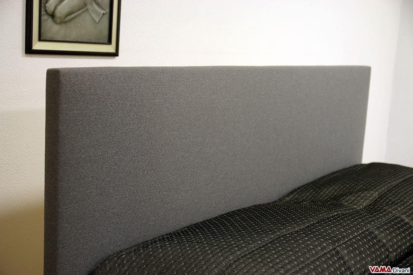 Testata letto matrimoniale semplice in tessuto grigio