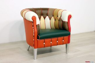Poltroncina patchwork in pelle multicolor