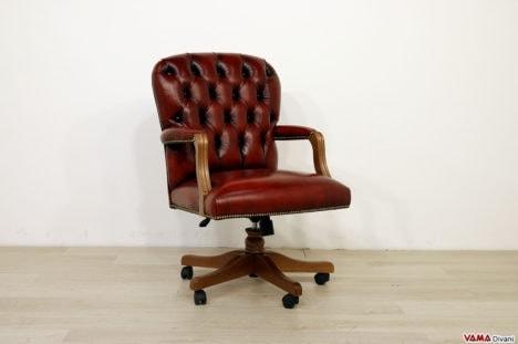 Poltrona ufficio capitonnè legno e pelle vintage