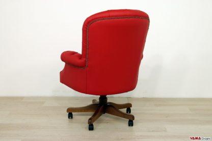 Poltrona per ufficio in pelle rossa classica