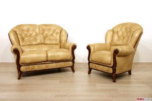Salotto classico divano e poltrona in legno e pelle