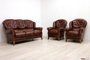 Salotto classico in pelle marrone e legno