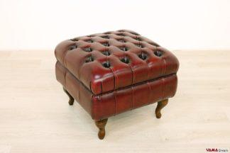 Poggiapiedi Chesterfield vintage rosso in pelle