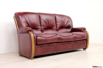 Divano 3 posti classico in legno e pelle rossa bordeaux