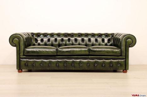 Divano Chesterfield in occasione 3 posti in pelle vintage verde