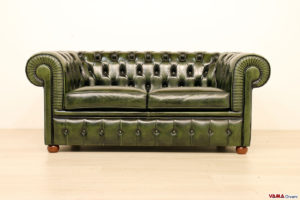 Divano Chesterfield 2 posti in pelle verde