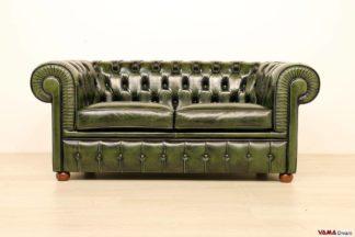 Divano Chesterfield in offerta 2 posti in pelle verde