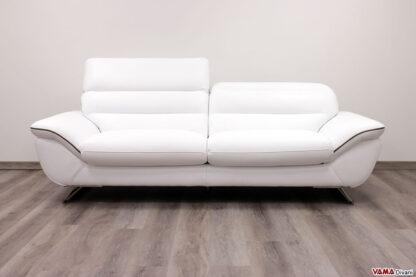 Divano 3 posti moderno bianco in pelle