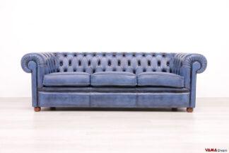 Divano Chesterfield blu 3 posti vintage in pelle