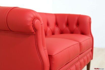 Bracciolo divanetto classico rosso in pelle