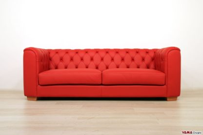 Divano capitonnè moderno 3 posti rosso in pelle