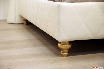 Piede letto classico verniciato foglia oro invecchiato