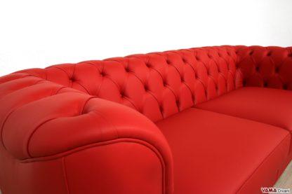 Schienale divano trapuntato in pelle rossa